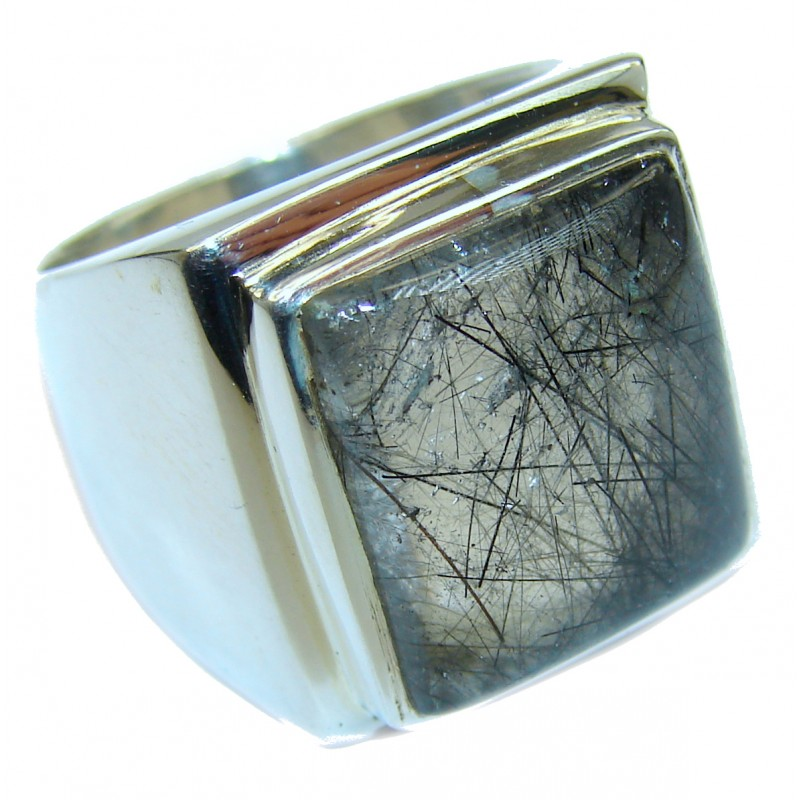 Mysterious Tourmalinated Quartz .925 Sterling Silver handmad ring s. 8