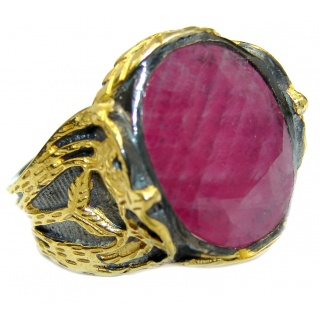 Vintage Design Genuine 25ct Ruby 14K Gold over .925 Sterling Silver handmade Ring size 8