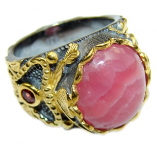 Argentinian Rhodochrosite .925 Sterling Silver handmade ring size 8