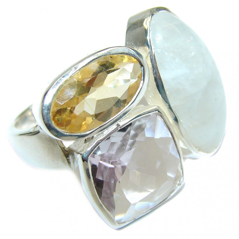 Energazing Moonstone .925 Sterling Silver handmade Ring size 6 1/2
