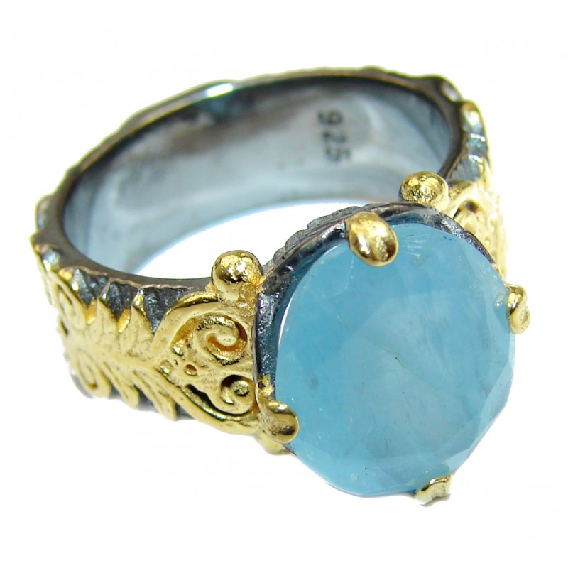 Antique Design Blue Aquamarine .925 Sterling Silver handmade ring s. 7