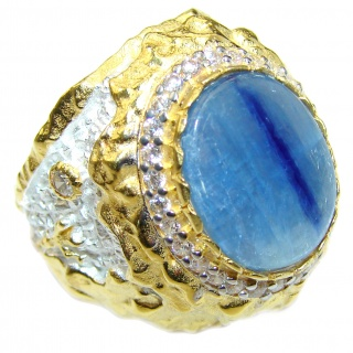 Huge Natural 46ct Kyanite 14K Gold over .925 Sterling Silver ITALY MADE ring size 9