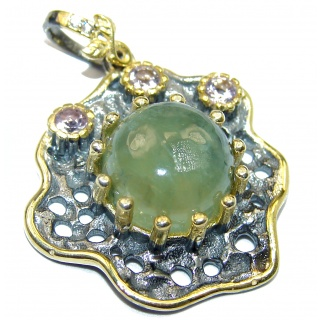 Authentic Moss Prehnite .925 Sterling Silver handmade pendant