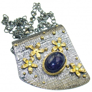 Genuine 45ct Tanzanite Rhodium Gold over .925 Sterling Silver handcrafted necklace