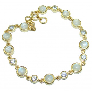 White Galaxy Fire Moonstone 14K Gold over .925 Sterling Silver handmade Bracelet