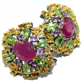 Spectacular genuine Ruby Sapphire 18k Gold over .925 Sterling Silver handcrafted earrings