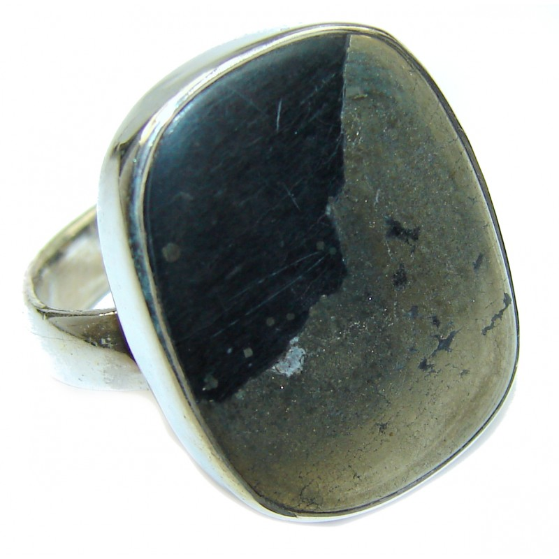 Huge Copper stone .925 Sterling Silver ring; s. 9