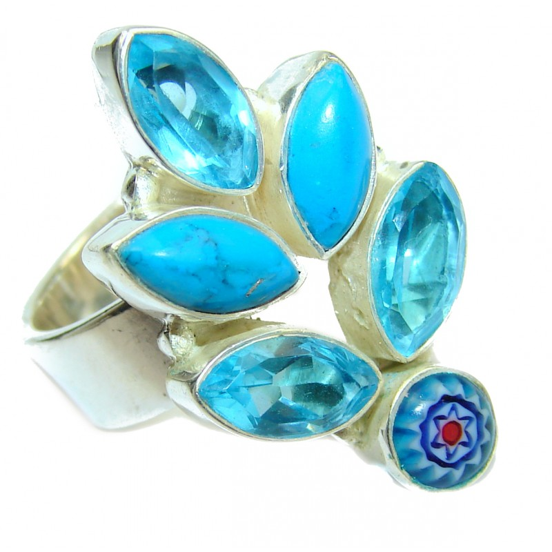 Mysterious Blue Quartz .925 Sterling Silver handmad ring s. 9