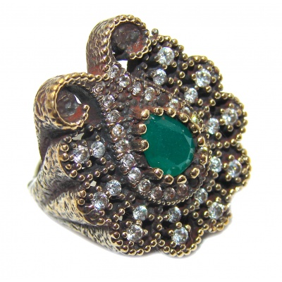 Victorian Style created Emerald & White Topaz Copper over Sterling Silver ring; s. 5 1/4