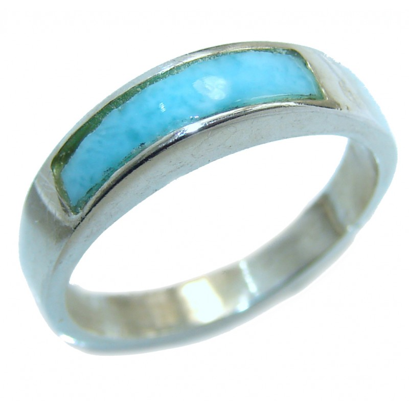 Natural inlay Larimar .925 Sterling Silver handcrafted Ring s. 7 1/4