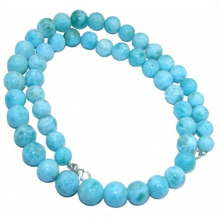 One of the kind Nature inspired Sublime Larimar .925 Sterling Silver handmade 20 inches necklace