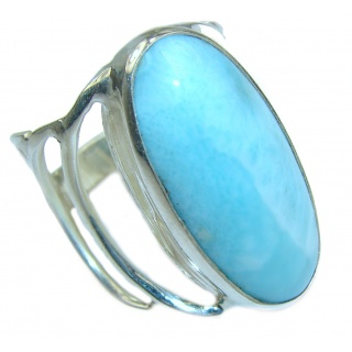 Huge Natural Larimar .925 Sterling Silver handcrafted Ring s. 8