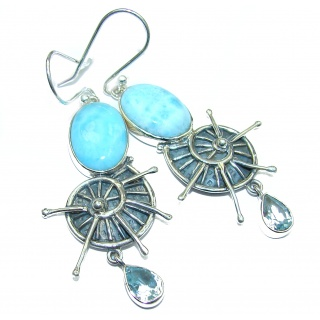 Caribbean Mist genuine Blue Larimar .925 Sterling Silver handmade earrings
