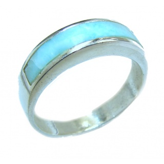 Natural inlay Larimar .925 Sterling Silver handcrafted Ring s. 6 3/4