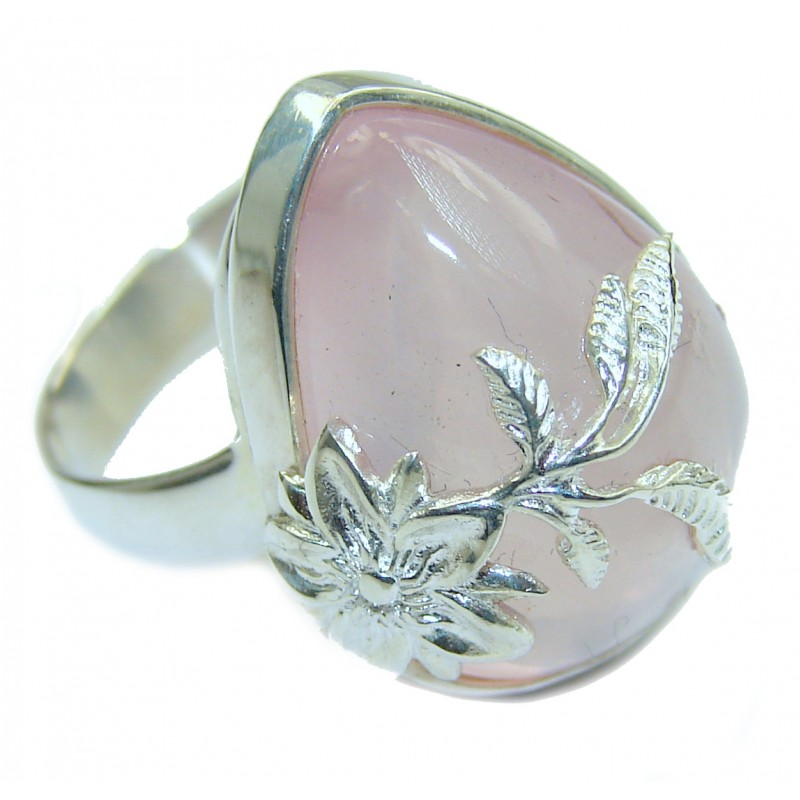 Best Quality Rose Quartz .925 Sterling Silver handcrafted ring s. 8