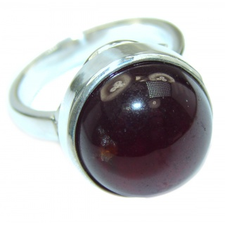 Genuine Garnet .925 Sterling Silver handmade Cocktail Ring s. 8