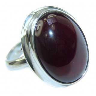 Genuine Garnet .925 Sterling Silver handmade Cocktail Ring s. 8 adjustable