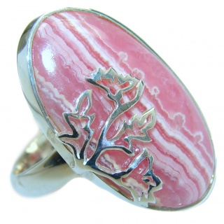 Authentic Rhodochrosite .925 Sterling Silver handmade ring size 8