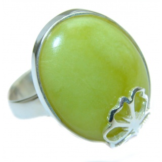 Natural Beauty Green Peruvian Opal .925 Sterling Silver ring s. 8