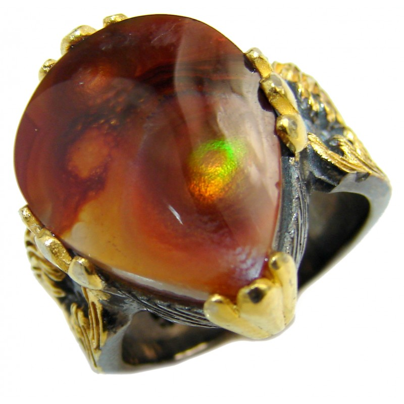 Genuine Fire Agate Mexican 14K Gold over .925 Sterling Silver Ring size 7 1/4