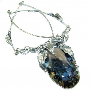Floral Design genuine Dendritic Agate .925 Sterling Silver handcrafted necklace