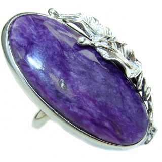 Natural Siberian Charoite 14K Gold over .925 Sterling Silver handcrafted ring size 8 adjustable