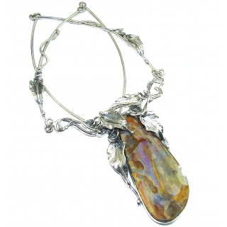 Spectacular Vitage Style Australian Boulder Opal .925 Sterling Silver brilliantly handcrafted necklace