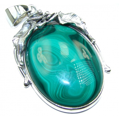 HUGE Top Quality Malachite Oxidized .925 Sterling Silver handmade Pendant