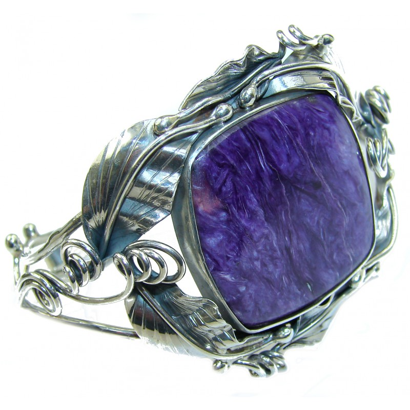 Lavender Dreams Authentic Siberian Charoite .925 Sterling Silver handmade Bracelet