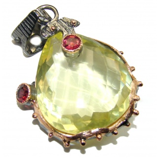 Genuine 30 ct Citrine .925 Sterling Silver handmade Pendant