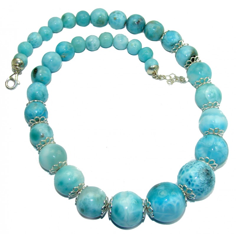 One of the kind Nature inspired Sublime Larimar .925 Sterling Silver handmade 16 inches necklace
