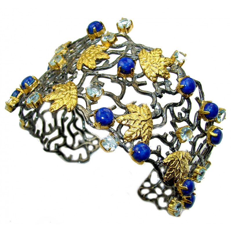 Blue Garden Lapis Lazuli 14K Gold over Sterling Silver handcrafted Bracelet / Cuff