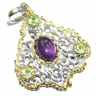 Genuine Purple Amethyst 14K Gold .925 Sterling Silver handmade Pendant