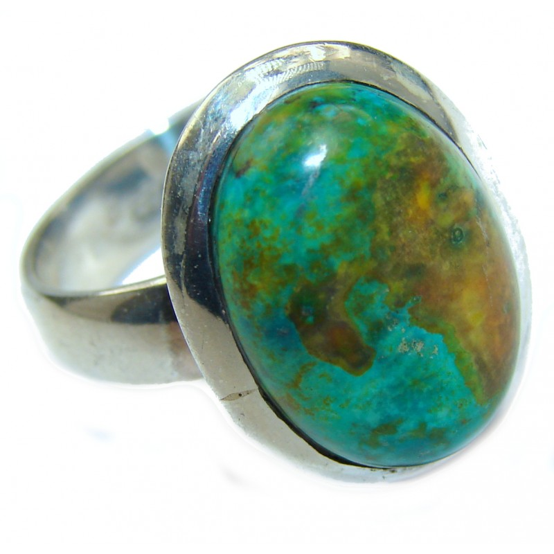 Copper Turquoise .925 Sterling Silver ring; s. 8