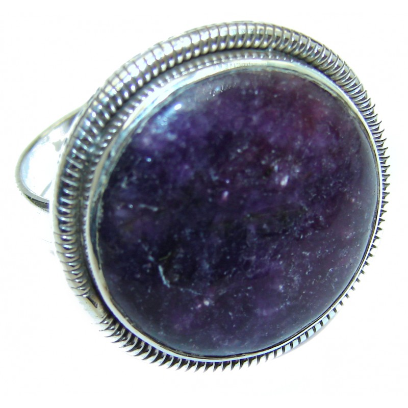 Perfect Charoite .925 Sterling Silver handmade Ring s. 9