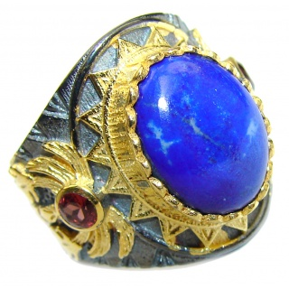 Natural Lapis Lazuli 14K Gold over .925 Sterling Silver handcrafted ring size 8