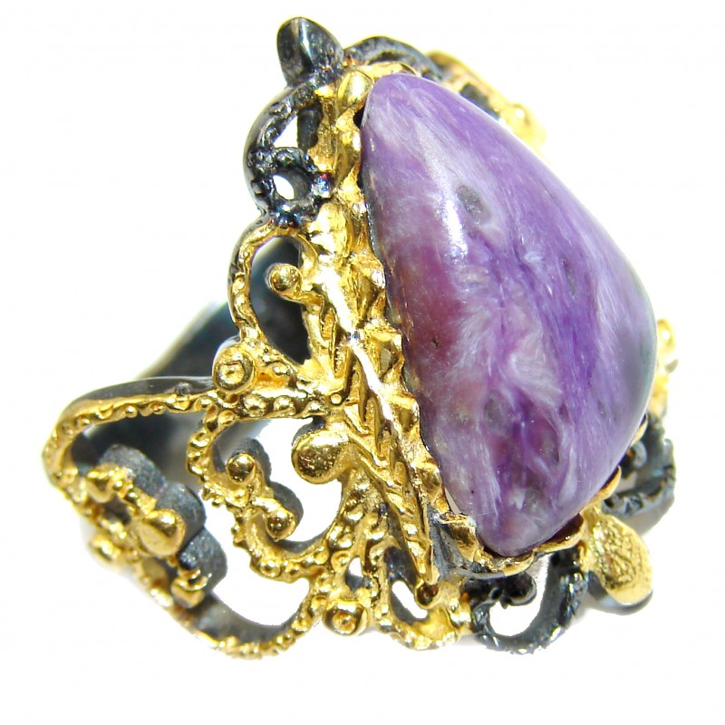Natural Siberian Charoite Gold over .925 Sterling Silver handcrafted ring size 7