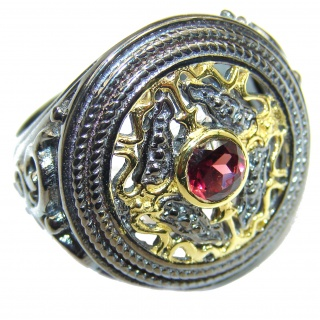 Genuine Garnet 18K Gold over .925 Sterling Silver handmade Cocktail Ring s. 8