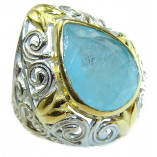 Spectacular genuine Aquamarine 14K Gold over .925 Sterling Silver handmade ring s. 7 1/4
