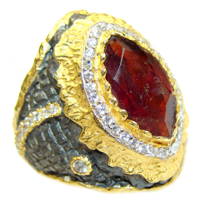 Large genuine Ruby 14K Gold over .925 Sterling Silver Statement Italy made ring; s. 9 3/4