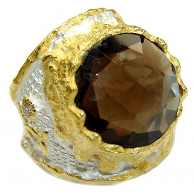 Bold Champagne Smoky Topaz 14K Gold over .925 Sterling Silver Ring size 6