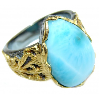 Vintage Design Natural Larimar .925 Sterling Silver handcrafted Ring s. 8