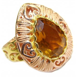 Spectacular 25 ct. Citrine 14K Gold over .925 Sterling Silver handcrafted Ring s. 8
