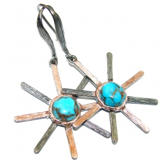 Blue Stars Copper vains in Blue Turquoise .925 Sterling Silver earrings