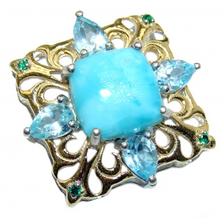 Romantic Genuine Blue Larimar 14K Gold over .925 Sterling Silver handcrafted Pendant