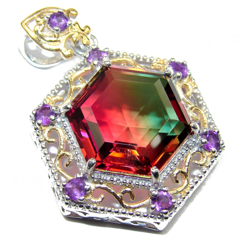 Deluxe Red Green Hexagon cut Watermelon Tourmaline pendant .925 Sterling Silver handmade Pendant