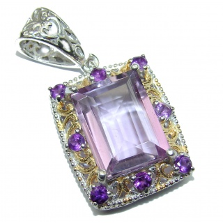 Unique Design Natural Amethyst two tones .925 Sterling Silver handmade Pendant