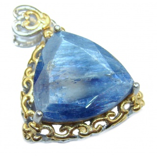 Genuine African Kyanite 14K Gold over .925 Sterling Silver handmade Pendant
