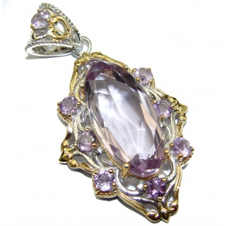 Royal Treaure Genuine 45ct Amethyst 14K Gold .925 Sterling Silver handmade Pendant
