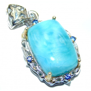 Genuine Blue Larimar 14K Gold over .925 Sterling Silver handcrafted Pendant